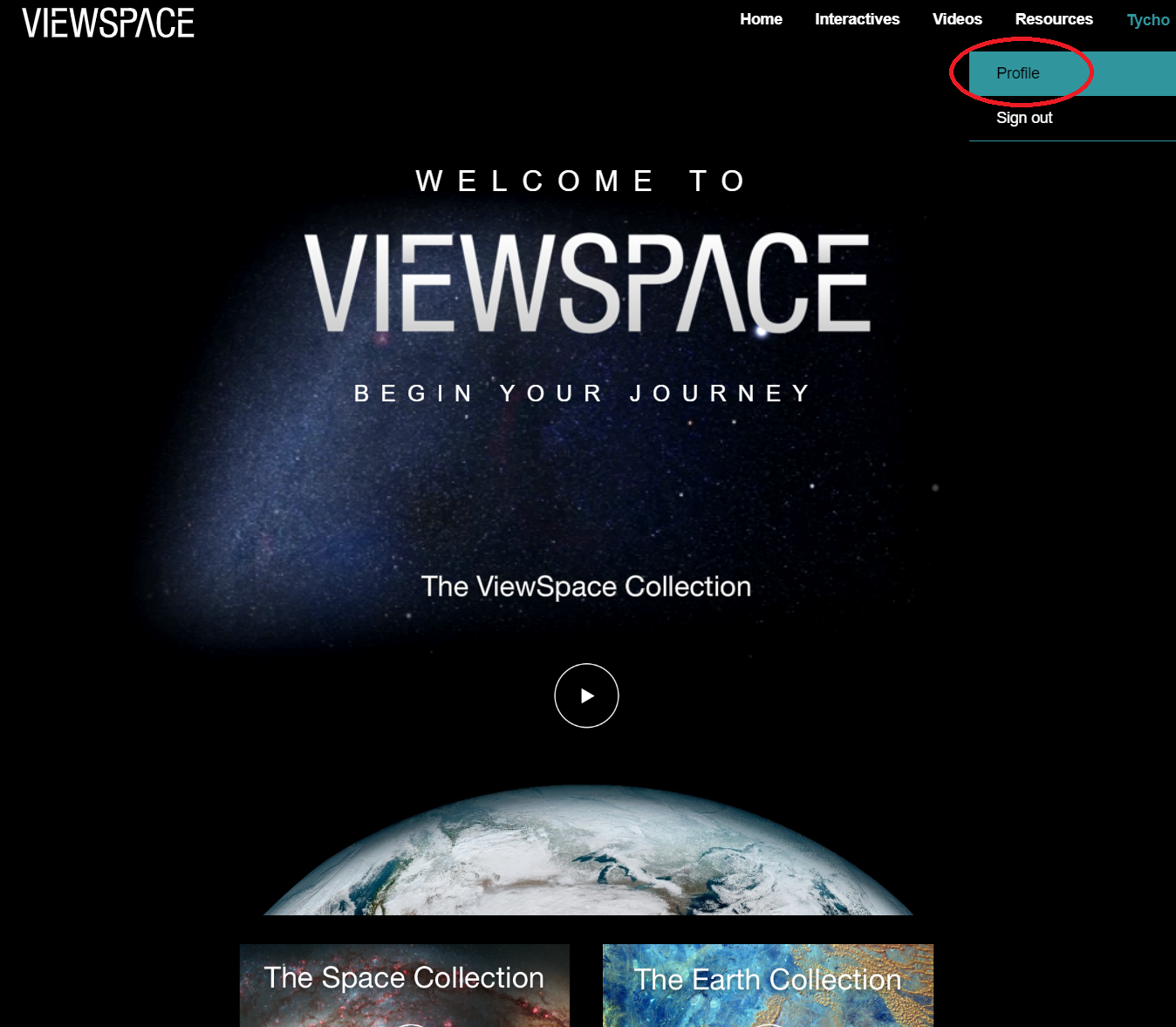Screenshot showing the ViewSpace Video Collection landing page with the user name.