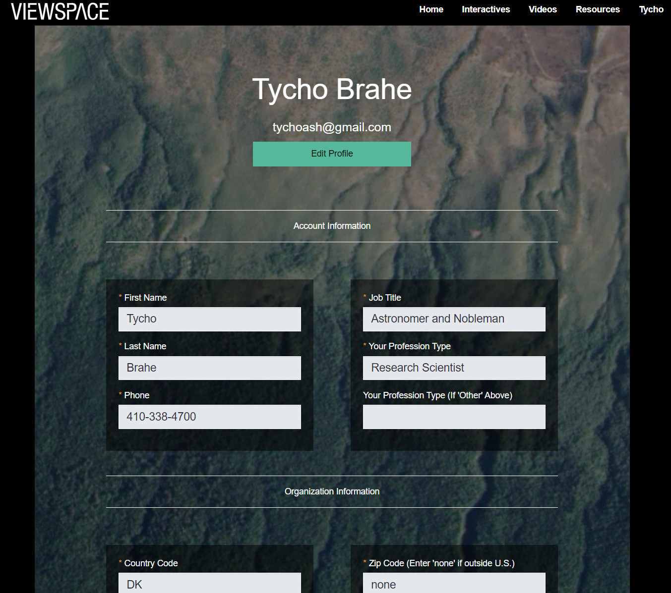 Screenshot of the top portion of the ViewSpace Profile Page.