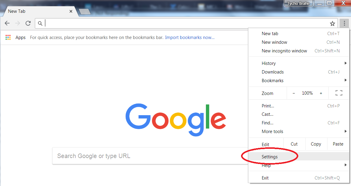 Screenshot showing the Google Chrome browser with the Customize and control drop-down menu, and the Settings button.