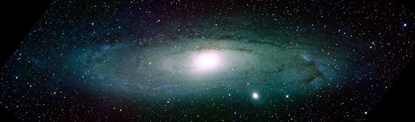 As each slider bar is manipulated, the view transitions from visible light to infrared light. In visible light: This is the classic visible view of the Andromeda Galaxy. In infrared light: Andromeda's dust rings stand out in the infrared.