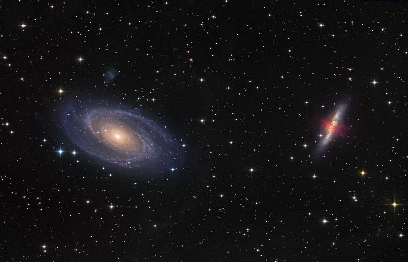 As each slider bar is manipulated, the view transitions from visible light to infrared light. In visible light: The galaxies are of similar brightness in visible light. In infrared light: The starburst in M82 is blindingly bright in the infrared.