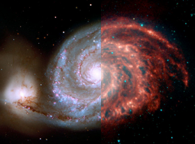 The Whirlpool Galaxy in visible and infrared light