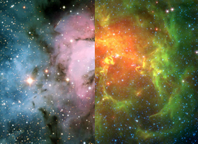 The Trifid Nebula in visible and infrared light