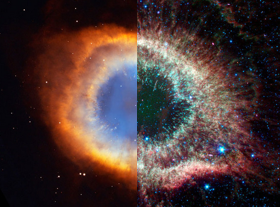 The Helix Nebula in visible and infrared light
